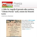 Premio Cilento Poesia 2018 a Milo De Angelis