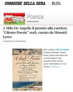Cilento Poesia 2018 Prize to Milo De Angelis